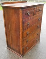 SOLD - Tall Oak Reproduction Chest of Drawers